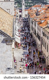 DUBROVNIK, CROATIA - MAY 5: Numerous tourists on the main street of Dubrovnik - Stradun, Dubrovnik, on May 5, 2012. Dubrovnik is one of the most prominent tourist destinations on the Adriatic