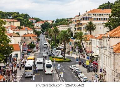 Dubrovnik, Croatia - Oct 30, 2018: Tourists old town traffic in Dubrovnik.