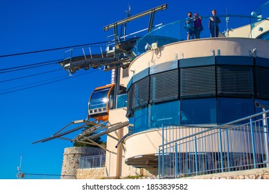 Dubrovnik Croatia October 2020 Cablecar station on the top of Srd mountain above Dubrovnik city, leading to the heart of the town below