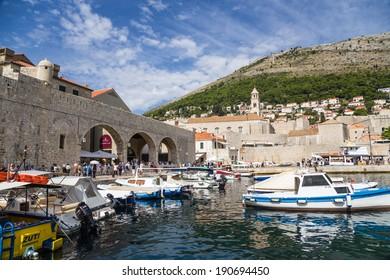 Dubrovnik, Croatia. - SEP 27, 2013: Photo of old port
