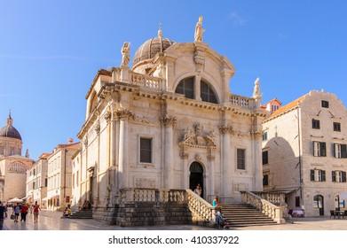 DUBROVNIK, CROATIA - SEPTEMBER 1, 2009: Saint Baise baroque style church at Luza square