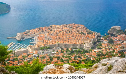 Dubrovnik, Croatia - September 26, 2012: Aerial panoramic view of old town in Dubrovnik. Copy space on water.