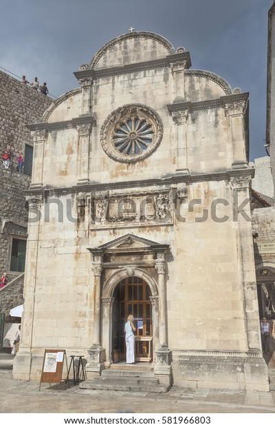 DUBROVNIK, CROATIA - SEPTEMBER 30, 2009: Small beautiful church (Crkva Sv. . Spasa) in Dubrovnik