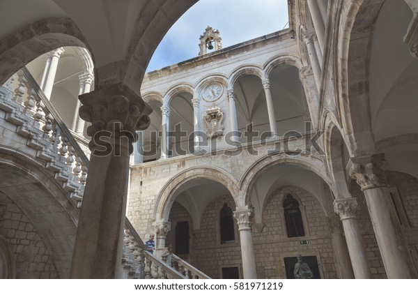 DUBROVNIK, CROATIA - SEPTEMBER 30, 2009: Interior of the Rector's palace in  Dubrovnik