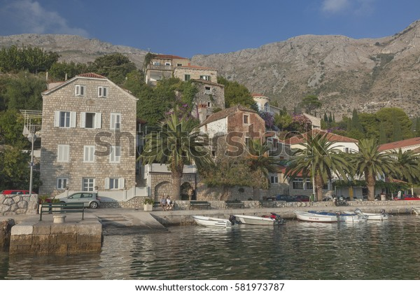 DUBROVNIK, CROATIA - SEPTEMBER 30, 2009: Beautiful old village near Dubrovnik