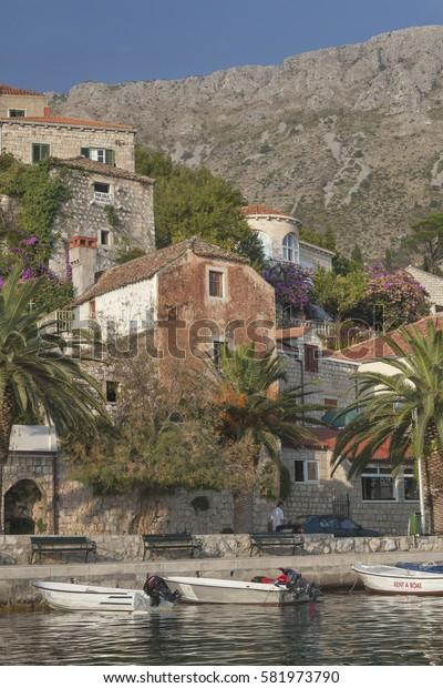 DUBROVNIK, CROATIA - SEPTEMBER 30, 2009: Beautiful old village near Dubrovnik