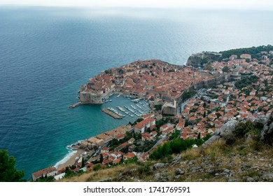 Dubrovnik - Croatia, view on the old town (medieval Ragusa) and Dalmatian Coast of Adriatic Sea