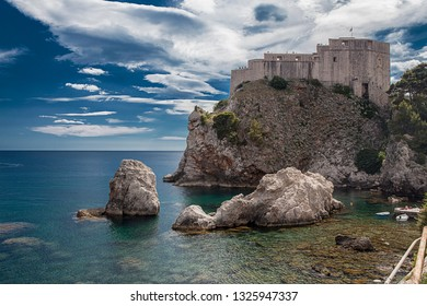 DUBROVNIK, CROATIA-JULY 23, 2018: Dubrovnik is a Croatian city on the Adriatic Sea. It is one of the most  prominent tourist destinations in the Mediterranean Sea