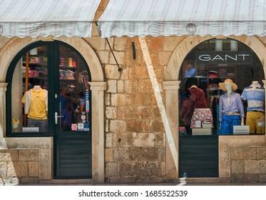 DUBROVNIK, CROATIA-June 29, 2019: Old town shop front displaying apparels in Dubrovnik, Croatia.