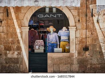 DUBROVNIK, CROATIA-June 29,2019: A shop front displaying apparels and hats at Old Town Dubrovnik, Croatia