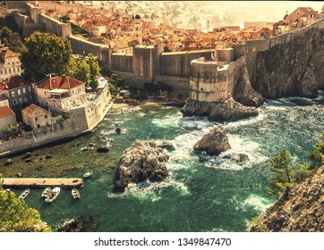 Dubrovnik fortification wall and old city in Croatia