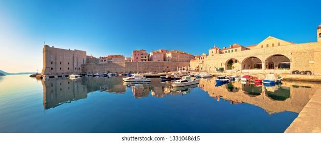 Dubrovnik harbor and city walls morning panoramic view, Dalmatia region of Croatia