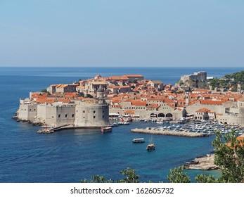 Dubrovnik medieval city and harbor in summer, Croatia