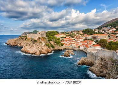 Dubrovnik medieval fortresses, Lovrijenac and Bokar, popular view from the ancient city wall. The world famous and most visited historic city of Croatia, UNESCO World Heritage site