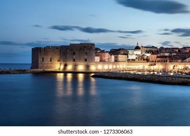 Dubrovnik at night in Croatia