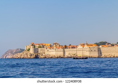 Dubrovnik old city defense walls details shot from a boat. Location Croatia - Europe.