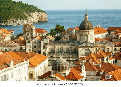 Dubrovnik old city view with The Assumption Cathedral is a Roman Catholic cathedral in the main focus, Croatia