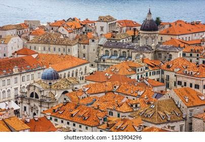 Dubrovnik old town houses landscape, Croatia