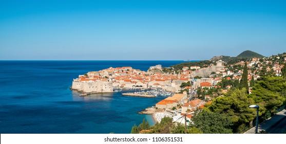 Dubrovnik Old Town on coast of Adriatic Sea, Dalmatia, Croatia - Prominent travel destination of Croatia. Dubrovnik old town was listed as UNESCO World Heritage Sites in 1979.