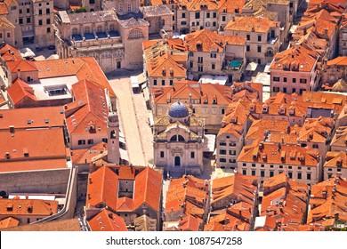 Dubrovnik old town streets aerial view, UNESCO world heritage site in Dalmatia, Croatia