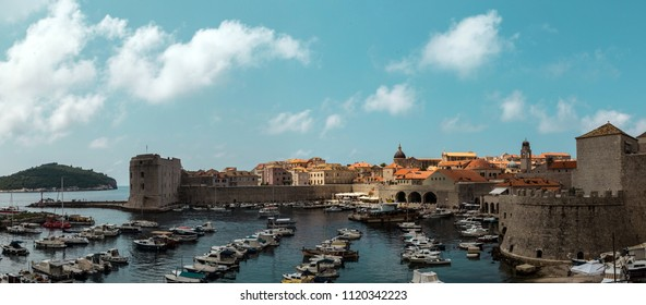 Dubrovnik old town surrounded by fortified walls above the Adriatic sea, Croatia