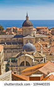Dubrovnik Panorama taken at fortified walls. Cathedral of the Assumption of the Virgin Mary. Dubrovnik - UNESCO World Heritage Site.