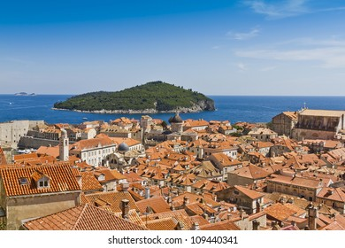 Dubrovnik Panorama taken at fortified walls. Old Port and Island of Lokrum. Dubrovnik - UNESCO World Heritage Site.