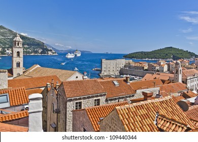 Dubrovnik Panorama taken at fortified walls. Old Port and Dominican Monastery. Dubrovnik - UNESCO World Heritage Site.