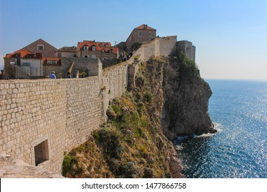 Dubrovnik and the surrounding Adriatic Sea viewing the ancient city wall surrounding the city of Dubrovnik in Croatia, Europe