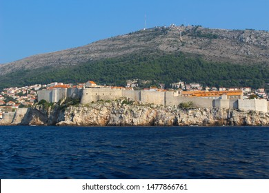 Dubrovnik from the surrounding Adriatic Sea viewing the ancient city wall surrounding the city of Dubrovnik in Croatia, Europe