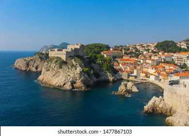 Dubrovnik from the surrounding Adriatic Sea viewing the ancient city wall surrounding the city with Fort Lovrijenac, Dubrovnik in Croatia, Europe