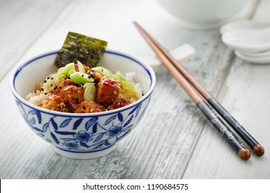 Dubu Jorim - hot braised tofu with rice