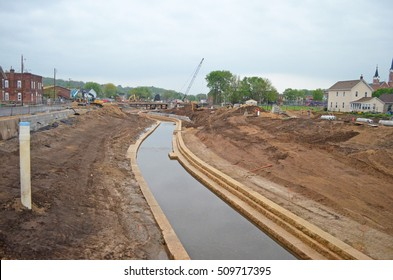 DUBUQUE, IOWA - MAY 10, 2016: In construction work on the Bee Branch watershed flood mitigation project around the city of Dubuque, Iowa.