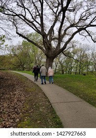 Dubuque, Iowa / USA - May 14 2019: Here a group of retirees visit the Mines of Spain park where the founder of the city Julien Dubuque is buried.