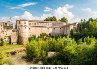 "The ""Ducal Palace"" of Urbania (Marche, Italy) over the river Metauro"