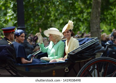 Duchess of Cambridge with Duchess of Cornwall, Duke and Duchess of Sussex at Trooping of the Colour 2019 - Her Majesty The Queen Birthday Parade 2019 London 8/5/2019