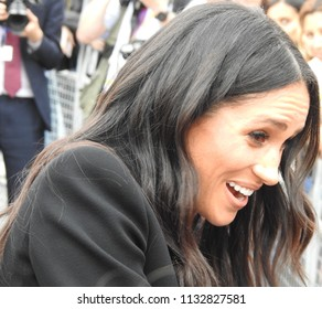 The Duchess Meghan on a royal visit to Dublin, Ireland July 12th 2018 at Trinity College, greeting the many well-wishers after looking at the Book of Kells within the college.