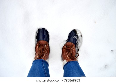 Duck bean boots in the snow