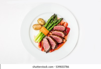 Duck breasts with aspargus
