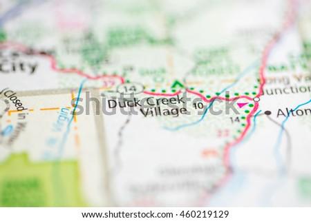 Map Of America Looks Like A Duck.Duck Creek Village Utah Usa Stock Photo Edit Now 460219129