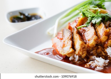 Duck and Crispy Pork over Rice with Sweet Gravy Sauce