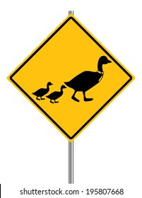 Duck Crossing Sign with a Daddy Duck in a Tie and two Ducklings Isolated