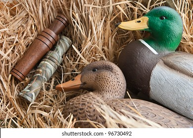 duck decoy with stuffed and some calls