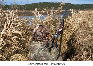 duck hunter with a shotgun hid in a hunting blind of reeds on the lake