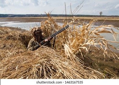 duck hunter with a shotgun ready to shoot from shelter during waterfowl hunting
