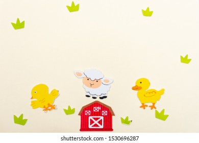 Duck, sheep, and chicken cartoon Farm animals on a white flat lay background with a barn, and grass scene and copy space open. Conceptual.