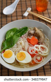 Duck soup with rice pasta and vegetables
