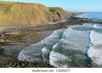 Duckpool beach near Bude in Cornwall England