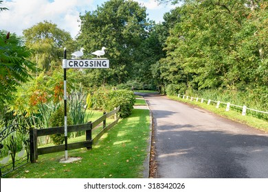 A ducks crossing sign on the Norfolk Broads