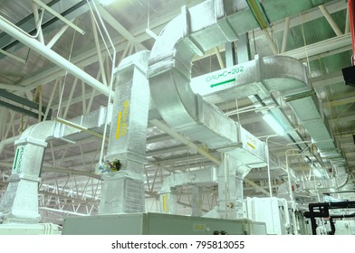 Duct ducting, industrial air conditioning system, to the Air Handling Unit